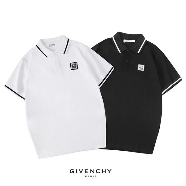 Roupas de verão homens marca polo camiseta cor sólida de manga curta t-shirt nova chegada top tee para homens preto e branco cor