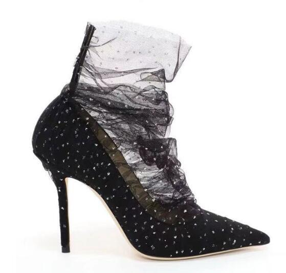 2019 Les nouveaux talons aiguilles en mesh sont confortables pour marcher sur de la soie Bud. Talon féminin pointy Les chaussures de fée La mode américaine, nouveau favori