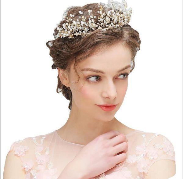 Headdress Bride Double Layer Freshwater Pearl Crown Handmade Hair Hoop Jóias de casamento
