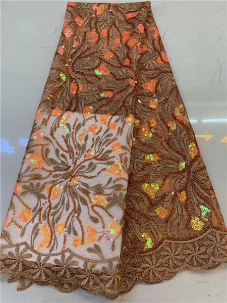 African Sequins Lace Fabric 2019 Embroidered Nigerian Net Laces Fabric Bridal High Quality French Tulle Lace Fabric DPSE151