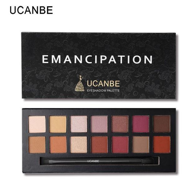 Ucanbe marka 14 renkler göz farı makyaj paleti mat pigment pırıltılı emancipation metalik göz farı fırça ile su geçirmez kozmetik