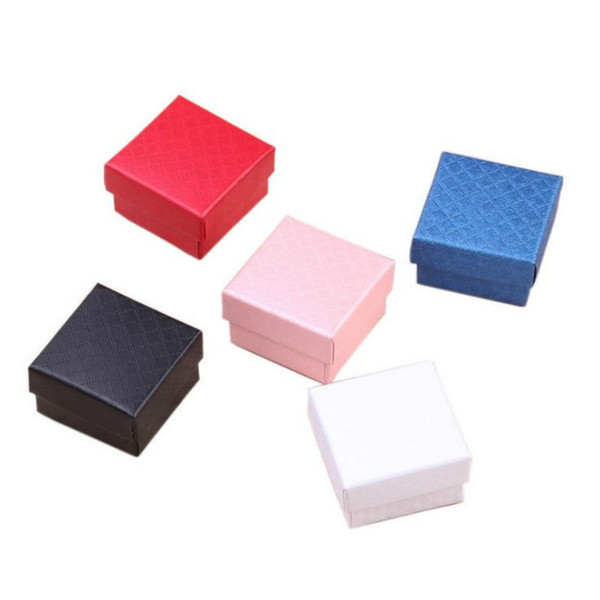 New Square shape jewelry earrings rings gift boxes black square carton bow case Rings stud box Size 5*5*3cm free shipping Jewelry Packaging
