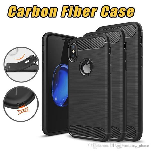 Sağlam Zırh Vaka iphone XS MAX XR X 6 6 S 7 8 Artı Samsung S8 S9 artı Not 8 9 Anti Şok Emilimi Karbon Fiber Tasarım TPU Kılıfları Kapak
