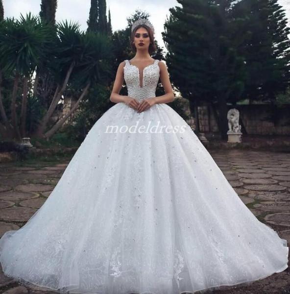 Princess Lace Ball Gown Wedding Dresses 2019 Spaghetti Court Train Crystal Beads Sequin Chapel Garden Country Bridal Gowns vestido de novia