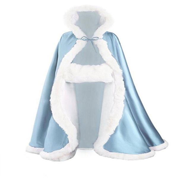 Vintage Wedding Cloaks Hood Cloak Autumn Winter Satin Bridal Cape Long Coat Jackets Sweep Shrug Bolero Cover Wedding
