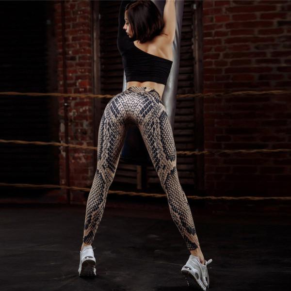 Frete grátis Leggings das Mulheres New hot sale impressão Fino 3D pele de cobra impressão calças de yoga de fitness