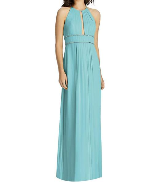 2019 de moda una línea de vestidos de dama de honor con cuentas azules con cuello de joya hueco trasero recorte largo damas de honor vestidos de invitados de boda