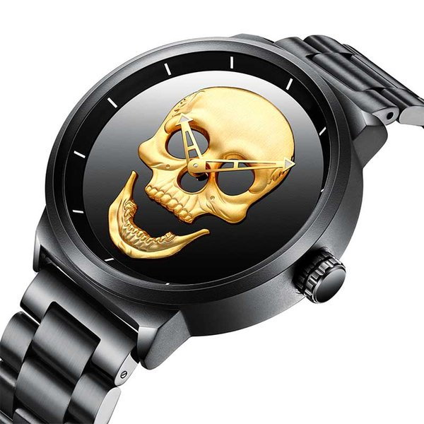 Mens Quartz Watch Punk Skull Unique Fashion 3D Waterproof Luxury Men Watches Stainless Steel Sports Clock Relogio Masculino