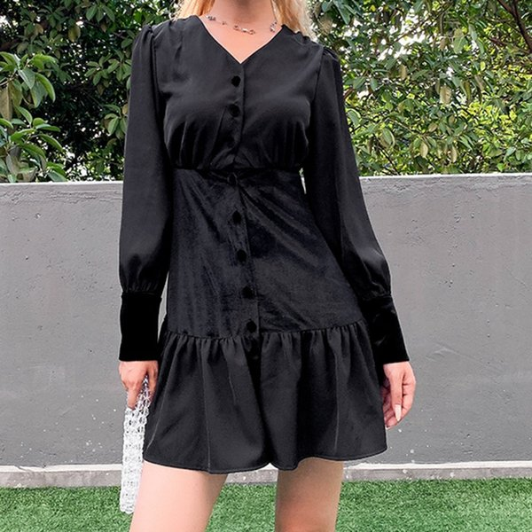 goth dark solid black vintage gothic dresses women button pleated longsleeve patchwork autumn 2019 winter harajuku mini dress