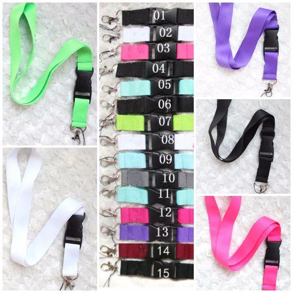 Cordón rosa gris Ropa Cordones para teléfonos móviles Llavero Collar Tarjeta de identificación de trabajo Cuello Correa de moda Logotipo personalizado Negro para teléfono 15 colores