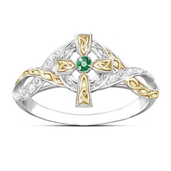 Las mujeres creativo Cruz Micro-incrustaciones de circonio anillo cristalino del Rhinestone dos colores hueco hacia fuera del anillo de dedo joyería de moda de la boda