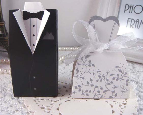 Bride Groom Tuxedo Dress Bridal Wedding Favor Candy Ribbon Box 100 Pcs(50 sets) Wedding Party Favors Wedding Gifts Decorations