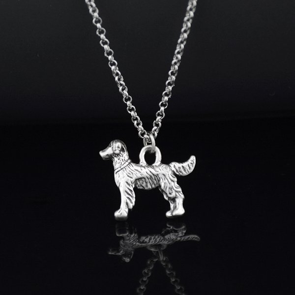 Vintage Golden Retriever Dog Pet Charm Pendant Stainless Steel Long Chain Necklace Boho Men Necklace Women Girl Gift Bijoux Femme