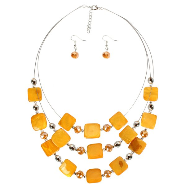 Retro shell crystal Necklace earring sets Summer Beach handmade beads exaggerate necklace women manufacturers directly sell necklace