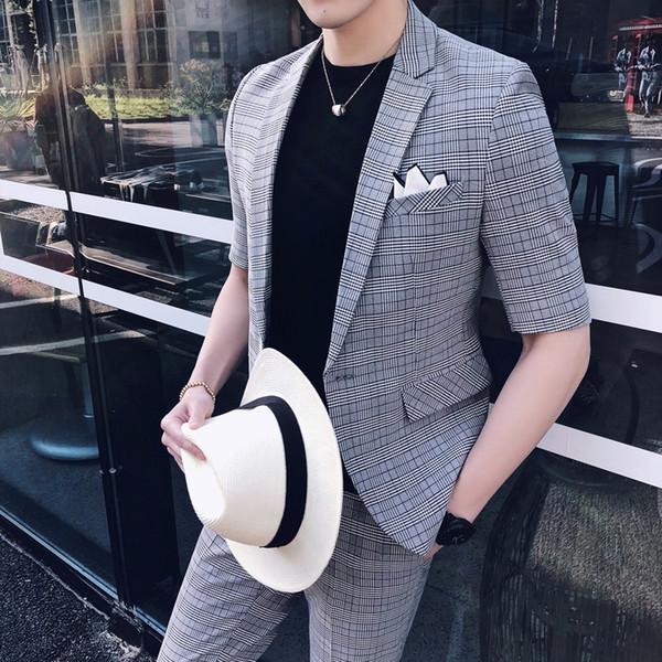 Fashion Suit For Mens Casual Clothing Business Suit Mens 2 Pcs Set Prom 2019 Summer Suits Plaid Suits Social Club Outfits
