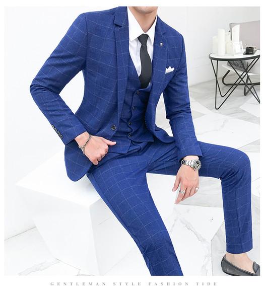 2019 Latest Designs Men Suits 3 Piece Plaid Suit Men Plus Size Korean Style Dress Slim Fit Skinny Prom Wedding Suits for