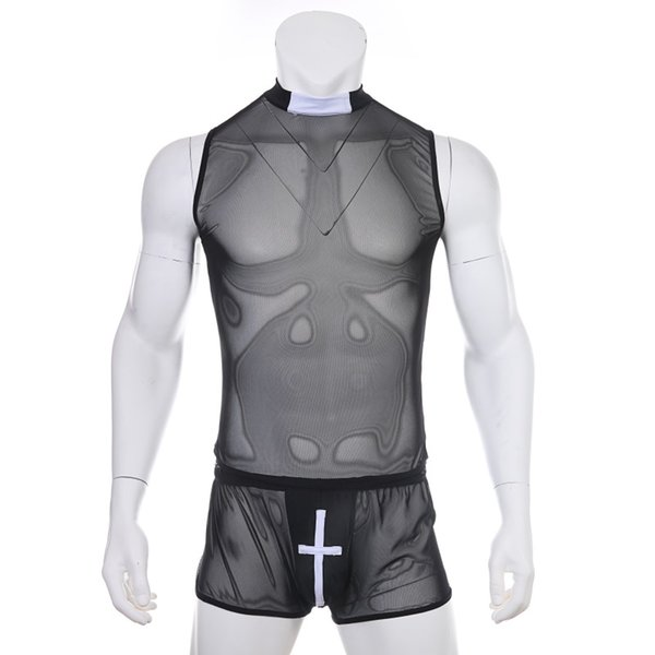 Men Soft See Through Mesh Sleeveless Undershirt White Cross Bulge Pouch Boxer Shorts Gay Underwear Men Sexy Lingerie
