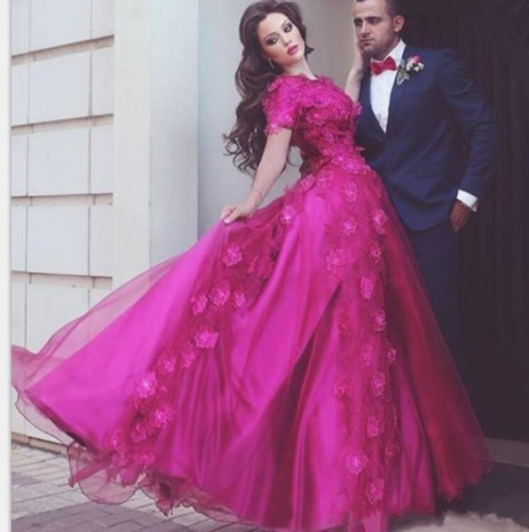 Latest 2019 Arabic Prom Dresses Fuchsia Jewel Neck Short Sleeves 3D-Floral Appliques Puffy A Line Lace and Tulle Arabic Evening Dresses UK
