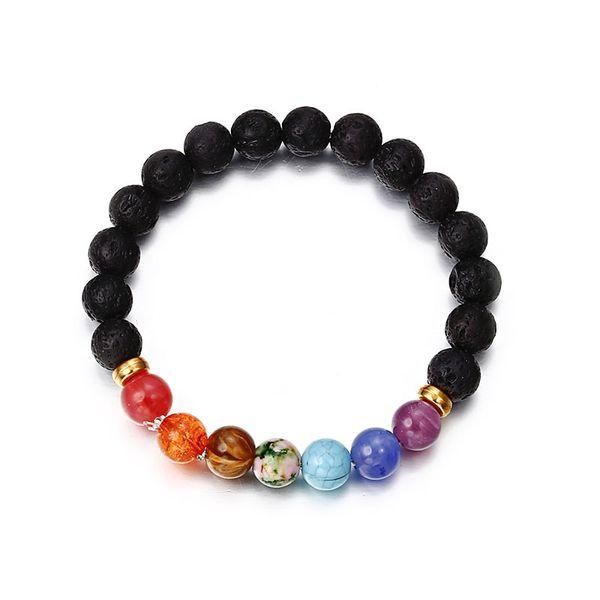 Pulsera de Chakra para mujeres hombres pulseras de estiramiento de piedra natural Reiki Beads de oración pulsera afortunada regalo para ella
