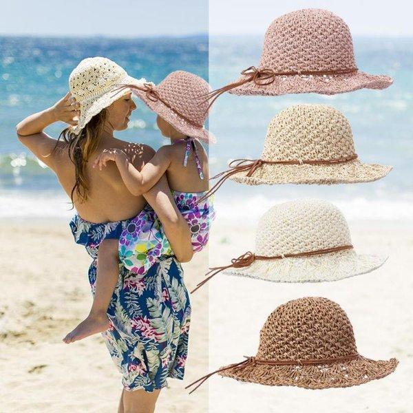 Летняя шапочка для малышей Шапка для детей Детская соломенная шляпа от солнца Дышащая пляжная принцесса Путешествие соломенный носок
