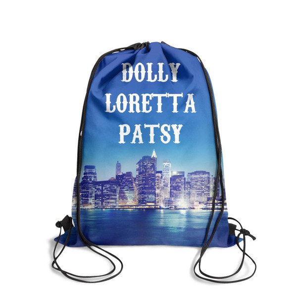 Drawstring Sports Backpack Dolly Parton Loretta Patsy Country Music Classic convenient pull string Pull String Backpack