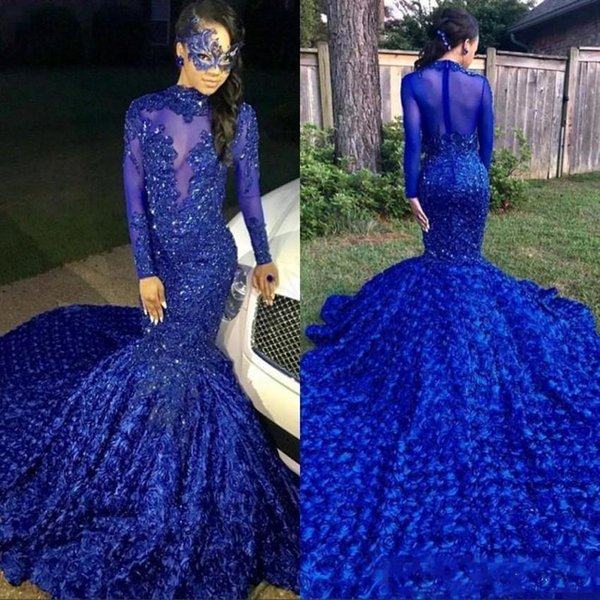 Royal Blue 2019 Black Girls Mermaid Prom Dresses Long Tail High Neck Long Sleeves Beaded Handmade Flowers Evening Party Gowns