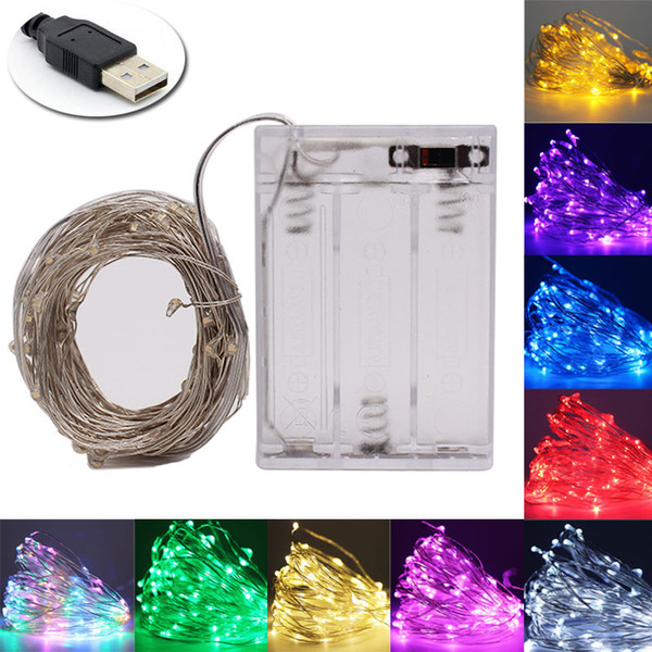top popular Fairy light string USB battery powered waterproof 2M 5M 10M 20 100 leds string silver line firefly holiday light strip 2020