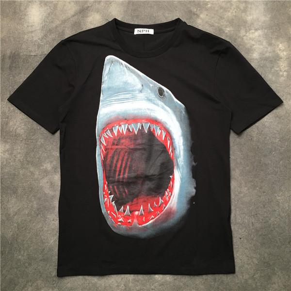New High Punk Men Moda Camisas Camisetas Tubarão Boca Vermelha T-shirt Hip Hop Skate Street Cotton Camisetas Tee Top # g58