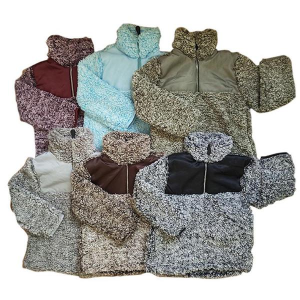 top popular Kids Sherpa Pullover Babys Hoodies Zipper Berber Fleece Sweatshirts Outwear Autumn Winter Jacket Patchwork Hoodie Sherpa Sweater LJJA2802 2019