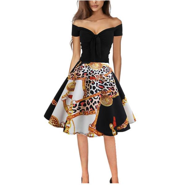 Vestido de fiesta de verano para mujer Vintage estampado de leopardo fuera del hombro Ropa de mujer 2019 Vestidos Vestidos de noche de fiesta para mujer