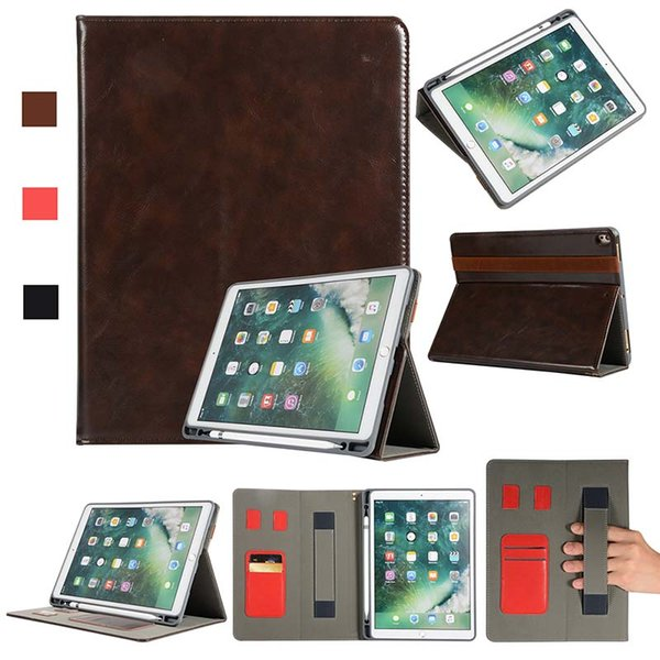 Luxury Half Genuine Leather Tablet case for ipad pro 10.5 with Built-in Pen Slot PU Tablet Cover Case