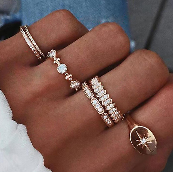best selling 6 PCS Set Fashion Women Finger Ring Sets Sweet Crystal Water Drop Bohemian Charm Finger Joint Ring Sets Party Cluster Rings Jewelry Gift