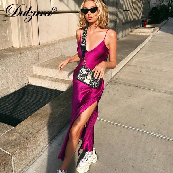 top popular Dulzura Spring Summer Women V Neck Backless Strap Vestidos Streetwear Long Dress Outfits Festival Elegant Silk Satin Q190516 2021