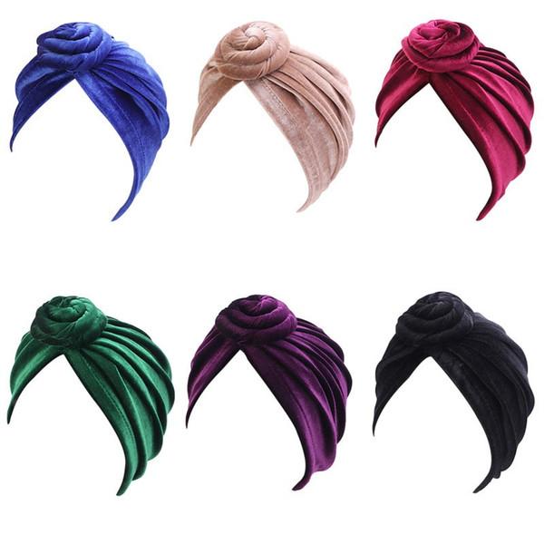 Discoïde Fleur Cap Turban velours Femmes Hat Chapeaux Accessoires de cheveux pour l'automne et l'hiver de haute qualité en gros 6 8JD H1