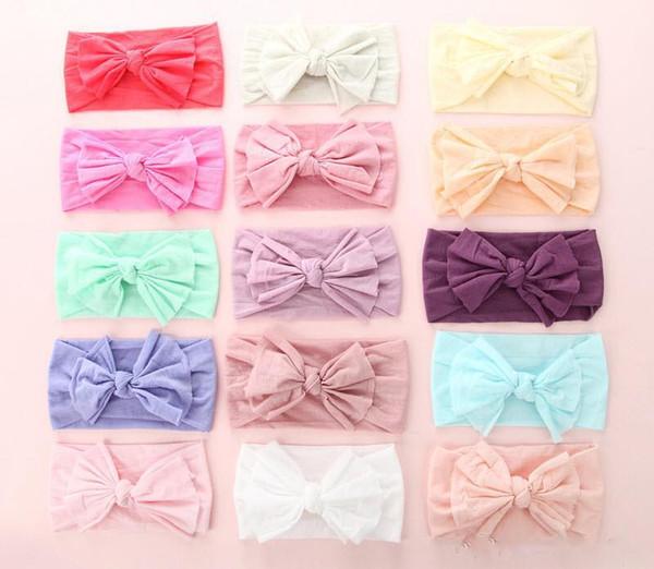 1pcs Wide Bows Nylon Headbands Baby Girls Soft Elastic Nylon Head Bands 2018 Candy Colors Knot Bow Turban Head Wraps Hair Bands