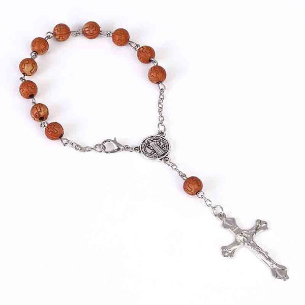 48 pieces Jesus Cross Rosary Bracelet Acrylic Cross Beads Jesus Rosary Heart St. Mercy Icon Religious Bead Bracelet