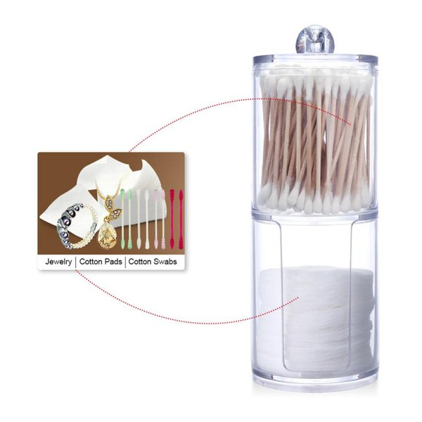 New Acrylic Cotton Swab Organizer Box Portable Round Container Storage Case Make up Cotton Pads Q-tip Box For Home Hotel