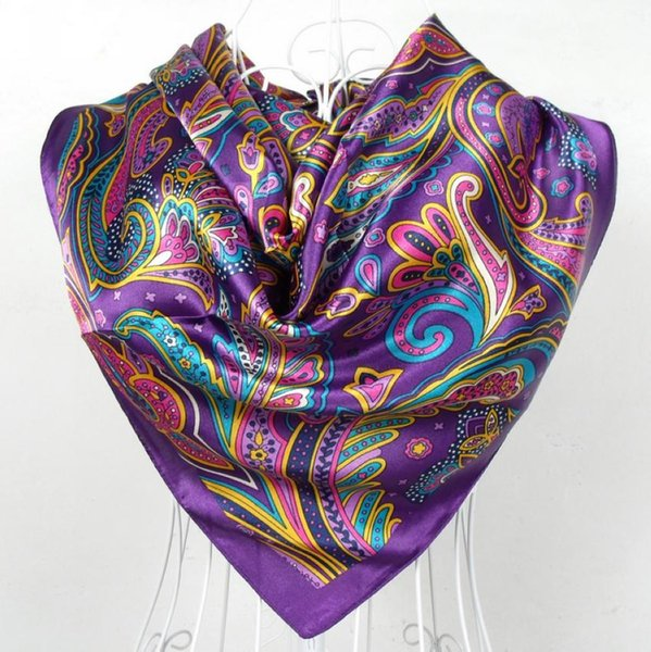 2017 bufanda de satén femenina de primavera y otoño, bufandas cuadradas grandes impresas, bufanda de mujer, bufanda de seda de poliéster púrpura 90 * 90 cm