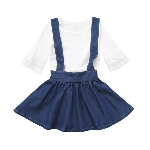 Compre 2018 Invierno Nueva Falda Correa De Mezclilla Vestido De Niña Pequeña Bebé Infantil Bebés Niñas Encaje Sólido Tops Falda De Mezclilla Total