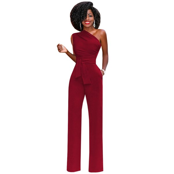 Rompers Womens Jumpsuit 2019 Sexy One Shoulder Sleeveless Elegant Wide Leg Jumpsuits Ladies Office Work Wear Long Pants Overalls