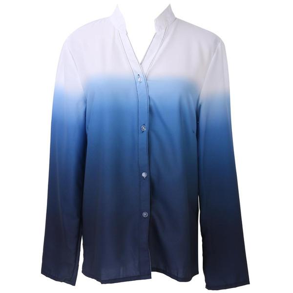 2017 camisa nuevas mujeres calientes de la blusa de la nueva gasa del gradiente con las tapas de manga larga superior de la corto