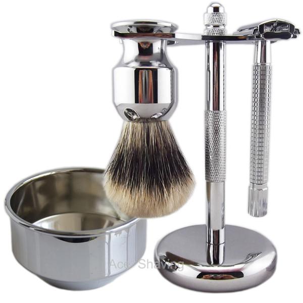 Finest Badger Hair Shaving Brush Butterfly Head Safety Razor DE Blade Metal Stand Bowl Barber Beard Remove Kit