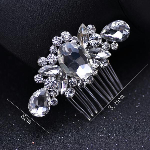 Mode Braut Hochzeit Diademe Atemberaubende Feine Kamm Brautschmuck Zubehör Kristall Perle Haarbürste 10 stücke