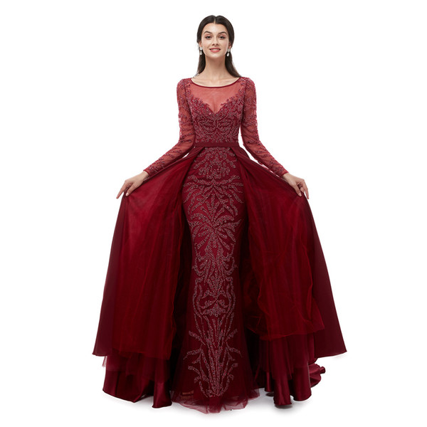 New Sexy Burgundy Prom Dresses 2019 Long Sleeves Mermaid Full Heavy Beaded Crystals Sheer Neck Evening Dress Special Party Gowns