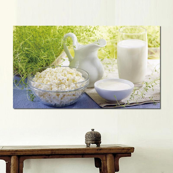 canvas prints painting for living room decoration summer cottage cheese milk sour cream pitcher
