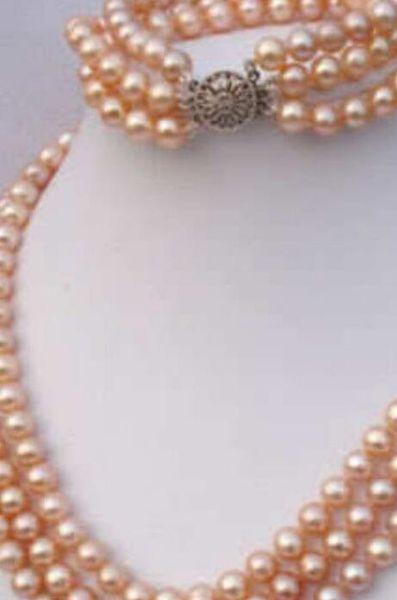 ювелирные изделия 3 ряда 7-8 мм розовый Akoya жемчужное ожерелье