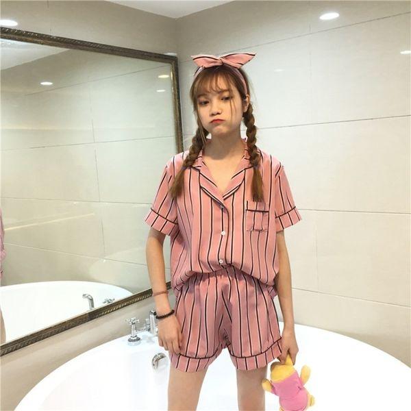 Plus Size Summer Fashion Women Pajamas Turn-down Collar Sleepwear 2 Two Piece Set Shirt+shorts Striped Casual Pajama Sets