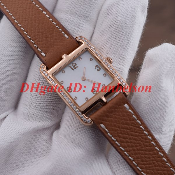 Moda bayanlar elmas İzle Paslanmaz çelik çapa zincir kılıf tasarımı Gül altın montre de luxe Haki deri kayış kadın saatler