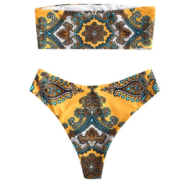 Breathable Biquini Tube Top Bikini Fashion Sexy & Club Vintage Floral Printed Strapless Padded Casual Low Waist Bikini Set