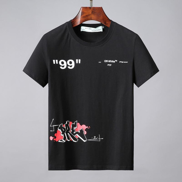 19ss Graffiti S / S Männer T-SHIRT aus kurzen Ärmeln T-Shirt Temperatur hinten gestreifte Drucke Herren Tops Weiß Frauen T-Shirts ow26